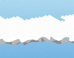 A graphical illustration of an altocumulus asperitas cloud