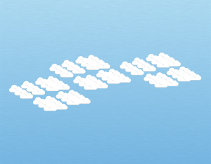 A graphical illustration of an altocumulus perlucidus cloud
