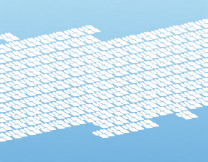 A graphical illustration of a cirrocumulus stratiformis cloud