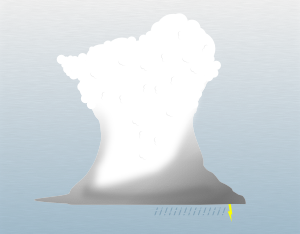 A graphical illustration of a cumulonimbus calvus cloud
