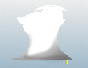 A graphical illustration of a cumulonimbus pileus cloud