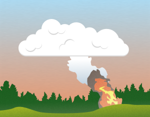 A graphical illustration of a cumulus flammagenitus cloud