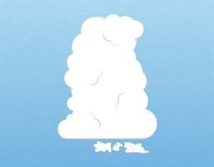 A graphical illustration of a cumulus pannus cloud