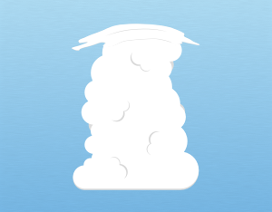 A graphical illustration of a cumulus pileus cloud