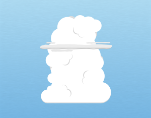 A graphical illustration of a cumulus velum cloud