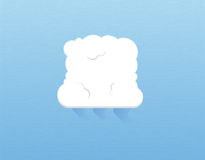 A graphical illustration of a cumulus virga cloud