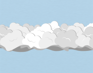 A graphical illustration of a stratocumulus asperitas cloud