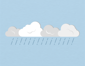 A graphical illustration of a stratocumulus praecipitatio cloud