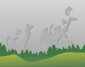 A graphical illustration of a stratus silvagenitus cloud