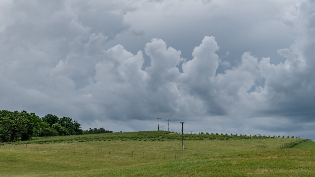 A photograph of a stratocumulus castellanus cloud (Sc cas) on a stormy afternoon