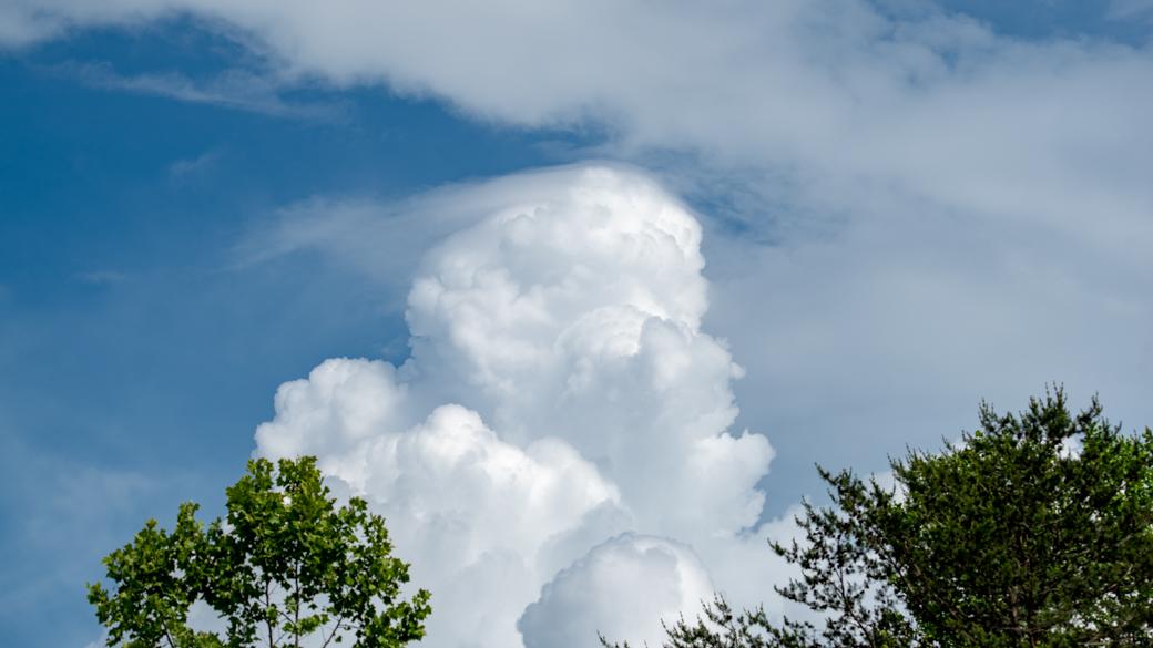 A photograph of a cloud that's classified as cumulus congestus pileus (Cu con pil)